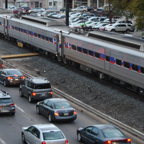 """""""Norristown Train and Route 202 II"""" by Montgomery County Planning Commission is licensed under CC BY-SA 2.0."""