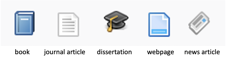 icons for book, article, dissertation, webpage, and newspaper article