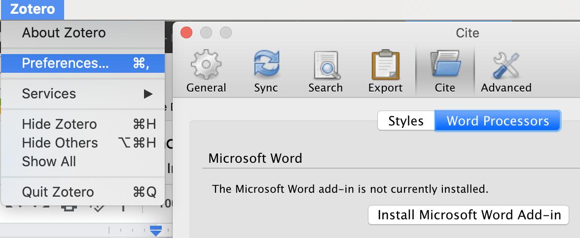 screenshot of manual installation of Word plug-in
