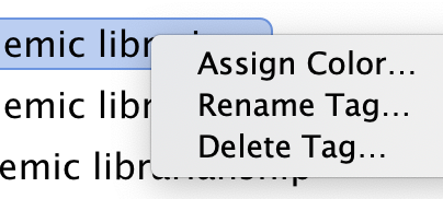 screenshot showing menu options for Zotero tags: assign color, rename tag, delete tag