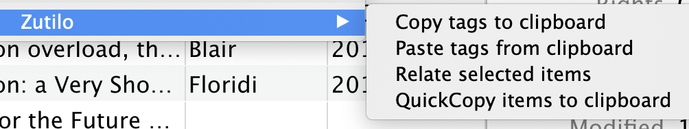 screenshot showing Zutilo's menu: copy tags to clipboard, paste tags from clipboard, relate selected items, and quick copy items to clipboard
