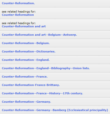 Subject heading Counter-Reformation and France