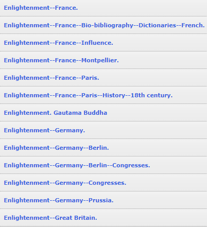 Subject heading Enlightenment France 18th century