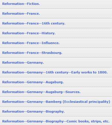 Reformation France Subject Term Examples