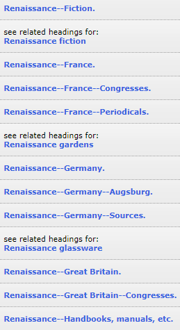 Subject Heading examples for Renaissance France