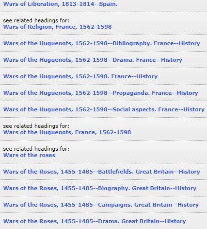 Wars of Religion, France subject headings