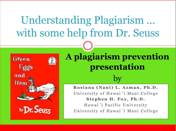 First Page of the PDF at Understanding Plagiarism with Some Help from Dr. Seuss site at Maui-dot-Hawaii-dot-edu