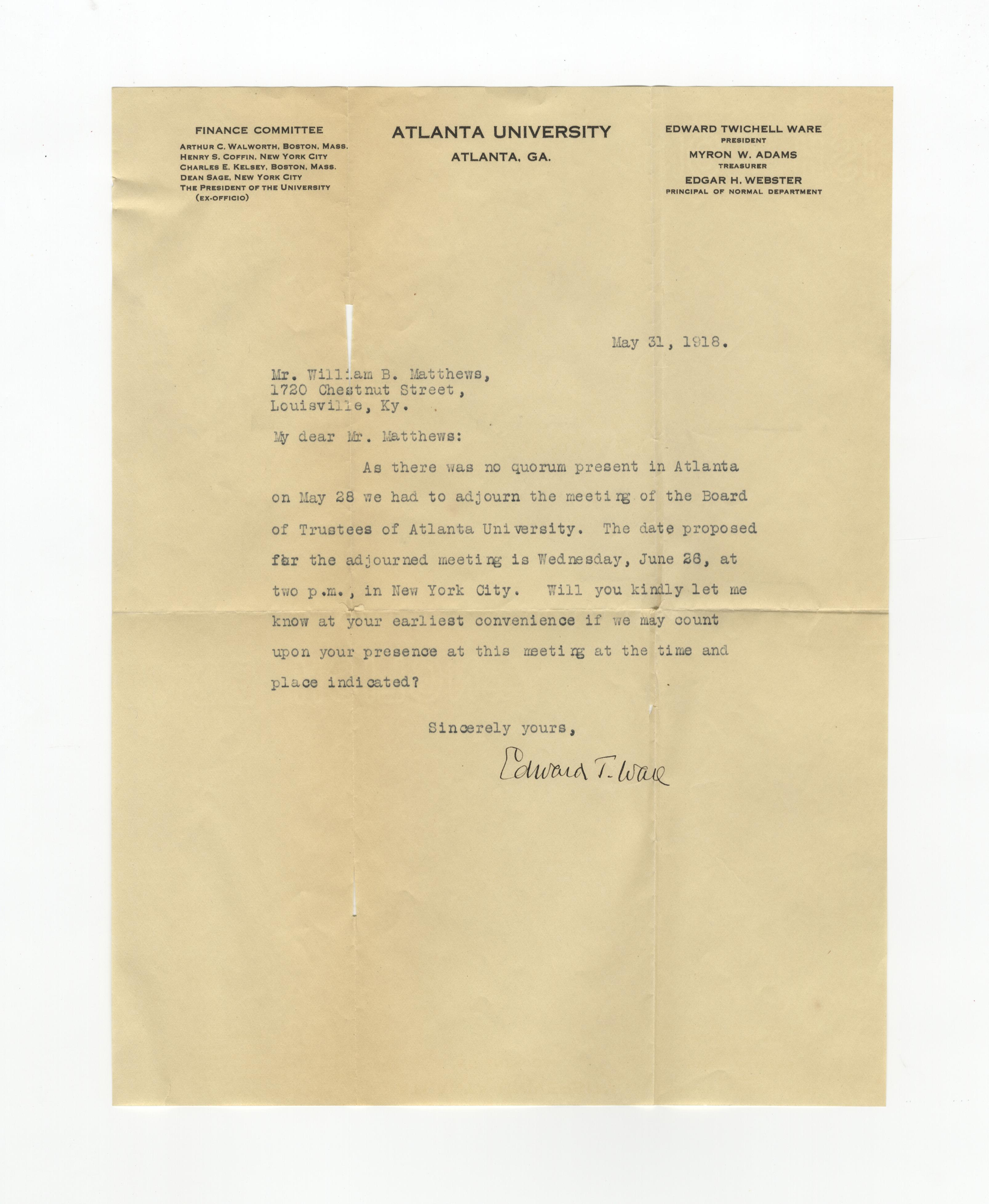 Professional letters to William B. Matthews, 1918-1919