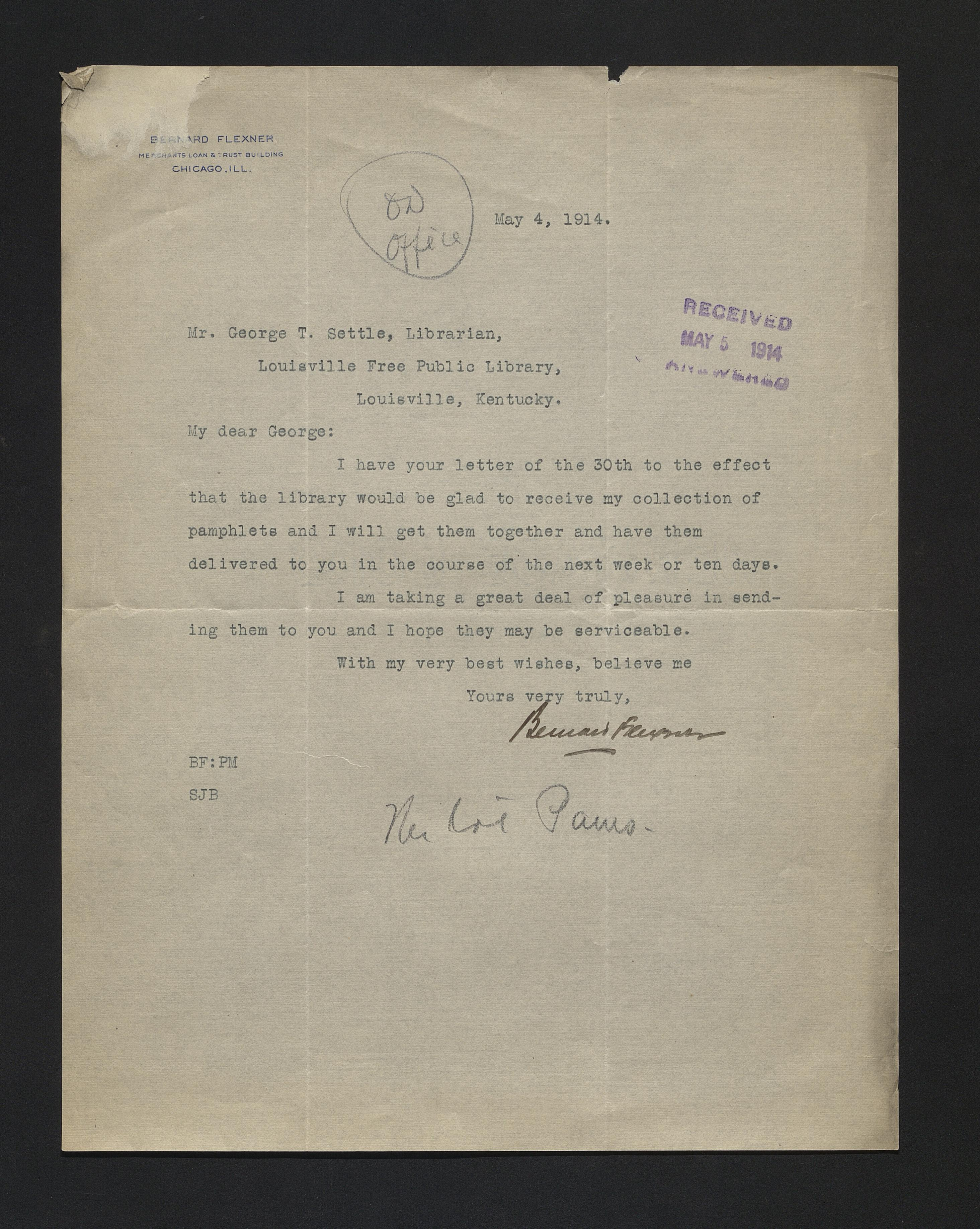 George T. Settle letters, 1913-1916