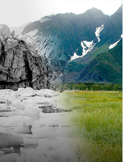 Photograph of mountains with ice on one side and grass on the other