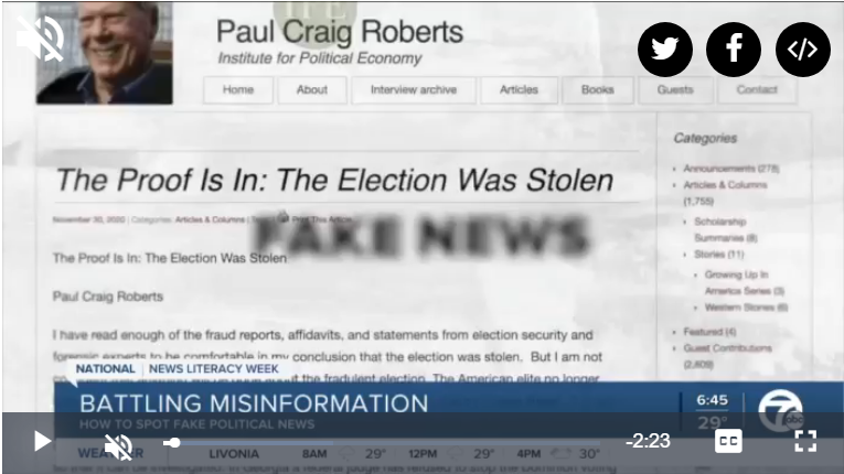 """Image of video """"spot fake political news"""""""