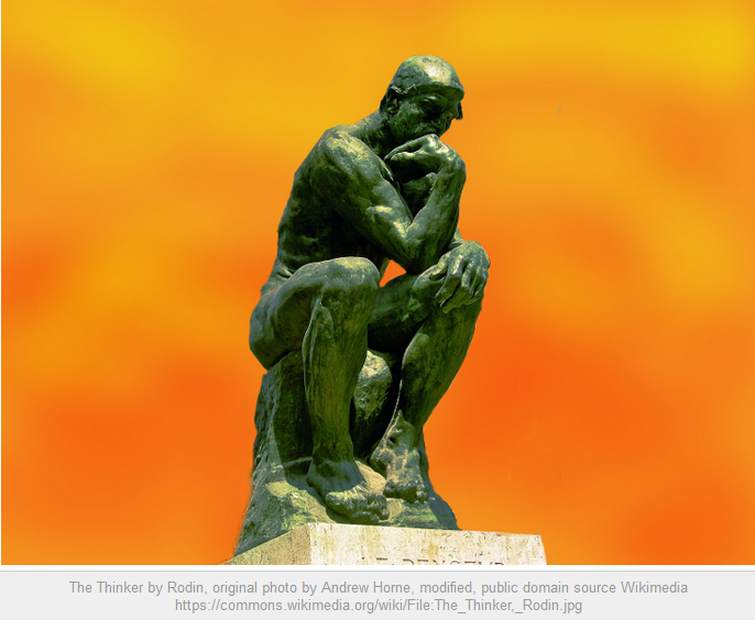 Rodin's The Thinker against a harsh, orange background