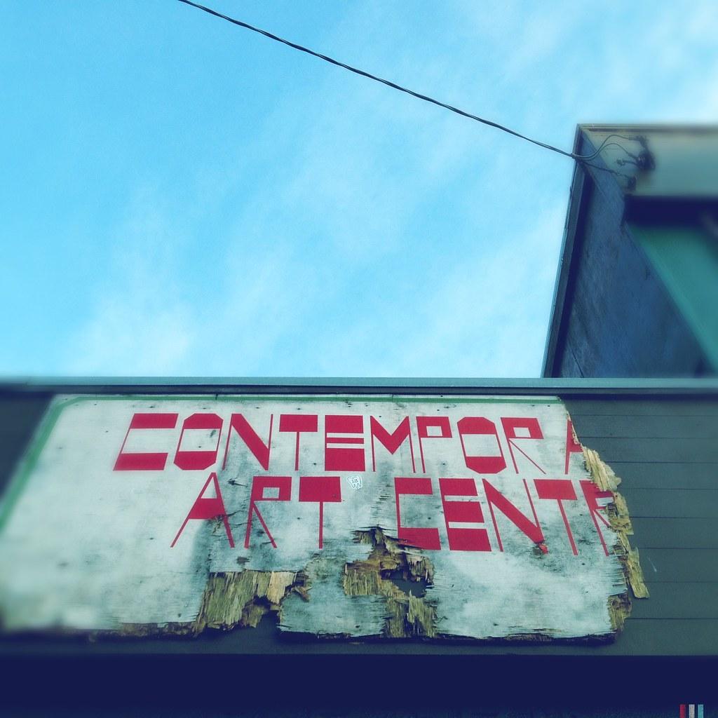 "Broken sign reading ""Contemporary Art Centre"""