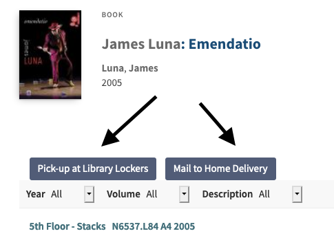 """""""pick up at library lockers"""" and """"mail to home delivery"""" option buttons displayed in catalog record"""
