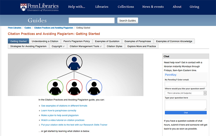 Screen capture of Penn Libraries guide on citation practices and plagiarism.