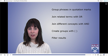 Penn Libraries searching for scholarly resources video