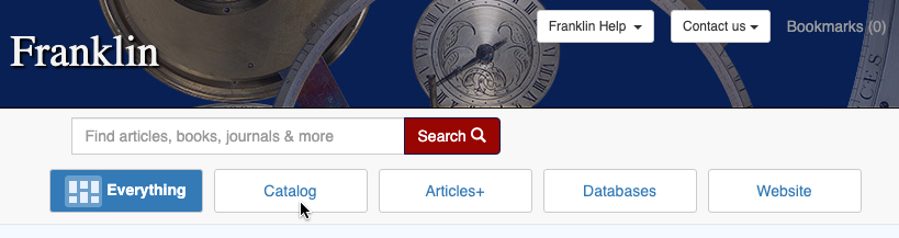 "Franklin results page with cursor on ""catalog"""