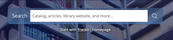 Library homepage Franklin search box