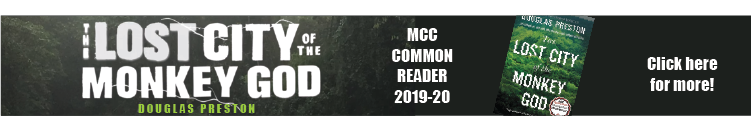 Banner image showing Lost City of the Monkey God, the Common Reader for 2019-20