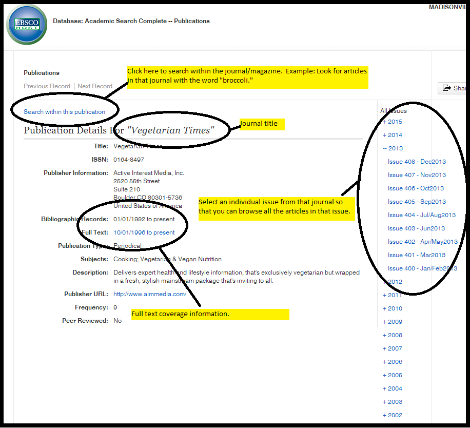 A record page for a journal in EBSCOhost