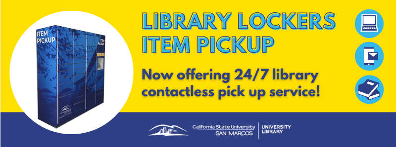 Students, faculty, and staff can now request to pick up library materials at a contactless Library Locker located outside the Craven Circle (2nd floor) Kellogg Library entrance. Please note: you must receive an email from the library prior to pickup.  We are taking every precaution to ensure that this service is provided in a way that is safe for users as well as library staff.
