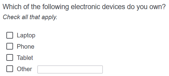 Example check-all-that-apply item with a write-in option appearing on an online questionnaire.