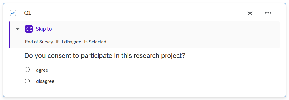 Screenshot of question with Skip Logic defined (2021 interface).