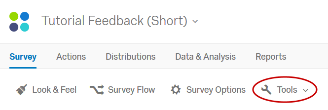 Screenshot of Qualtrics survey editor interface with Tools button highlighted (taken January 2019).