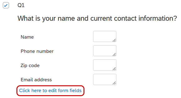 Qualtrics Survey Editor screen showing a text entry form question.