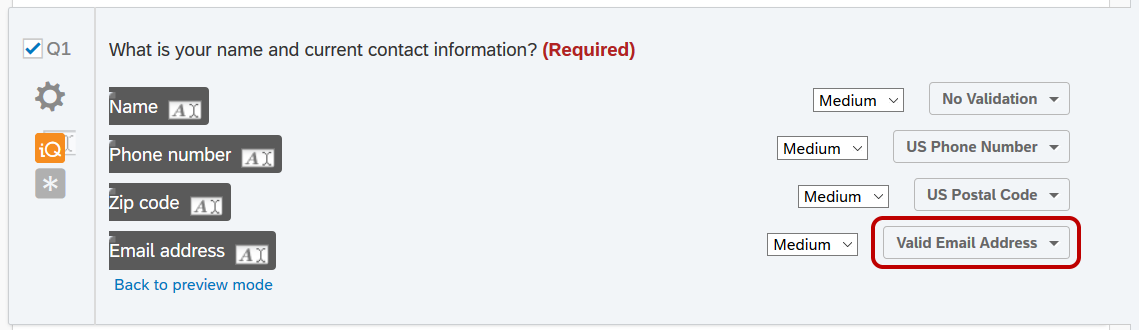 Qualtrics Survey Editor window; after clicking Click here to edit form fields, the options to change the field size and validation for each field appear.