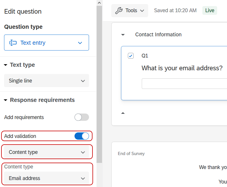 Qualtrics Survey Editor screen showing a text entry question with Content Validation for Email Addresses applied.