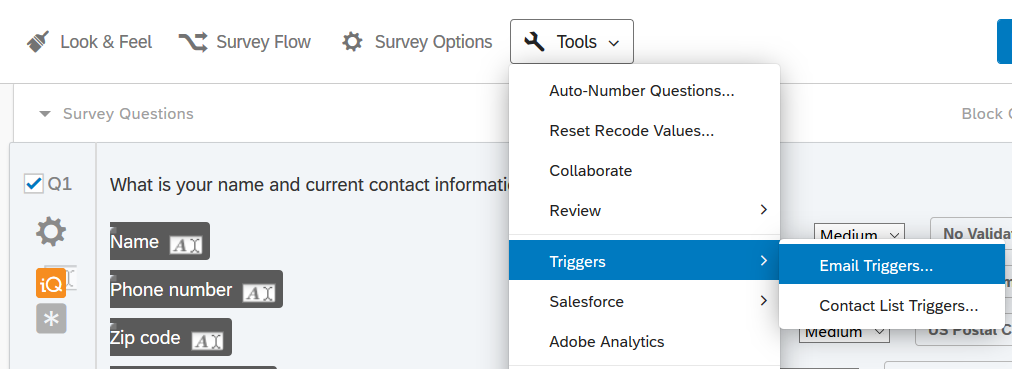 Survey Editor window showing the Tools menu opened to the Triggers-Email Triggers section.