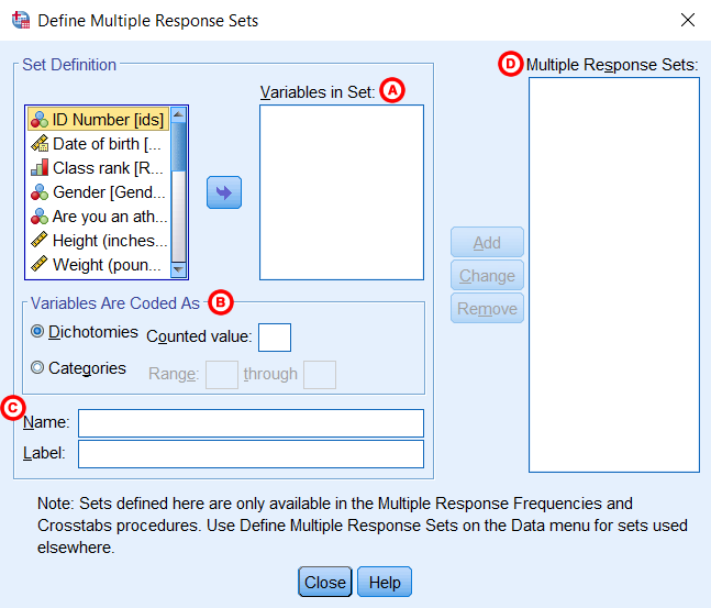 The Define Multiple Response Sets window (SPSS Statistics v26 on Windows 10).