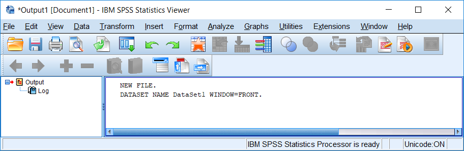 Output Viewer window (SPSS Statistics version 24). The left panel shows an outline of the commands and output that have been executed. The right panel contains the tables and syntax.
