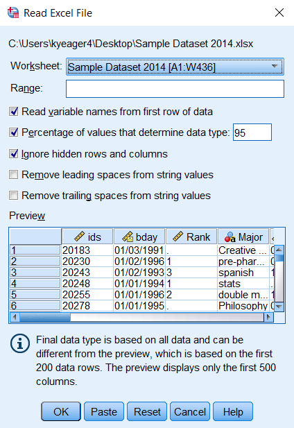 Screenshot of the Opening Excel Data Source window. The first three checkboxes (Read variable names from the first row of data, Percentage of values that determine data type, Ignore hidden rows and columns) are selected by default.