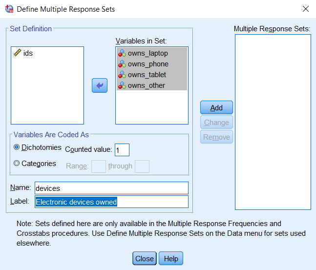 Define Multiple Response Sets window with Dichotomies, Name, and Label defined.