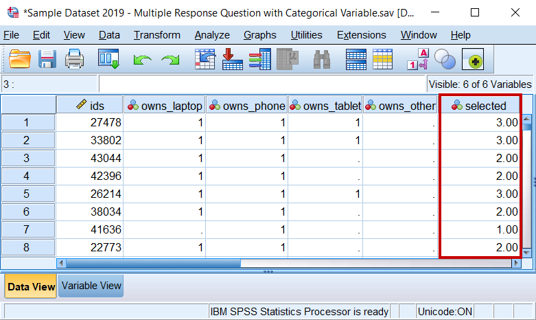 Data View window after executing the Count Values Within Cases procedure.
