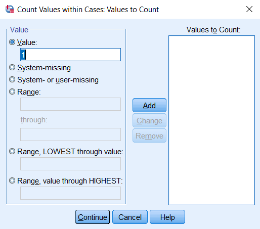 Count Values Within Cases: Values to Count window; the number 1 is entered in the Value box.