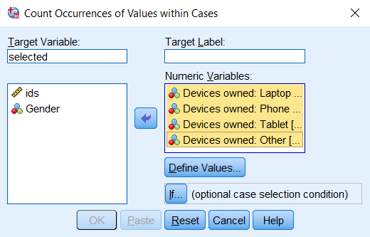 Count Values Within Cases window after defining the Target Variable name and adding numeric variables to count.