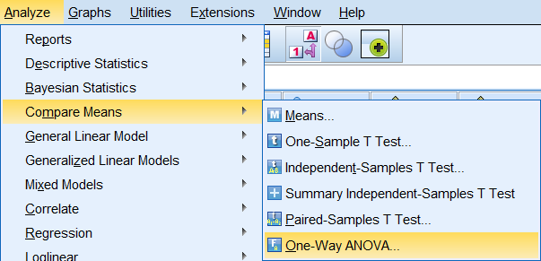 Analyze > Compare Means > One-Way ANOVA