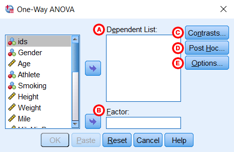 One-Way ANOVA dialog window.