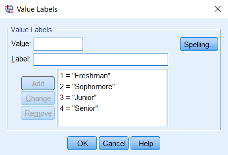 The main box in the Value Labels window should have the statements 1 = 'Freshman', 2 = 'Sophomore', 3 = 'Junior', 4 = 'Senior'.