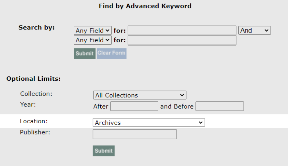 """Screenshot of library catalog """"Advanced Search"""" page. In location field, """"Archives"""" is chosen"""