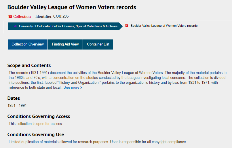 Screenshot of ArchivesSpace collection page for Boulder Valley League of Women Voters