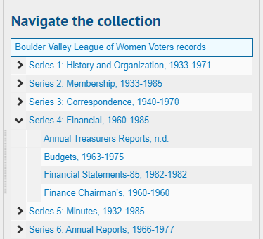Screenshot of ArchivesSpace collection outline, a dropdown menu of series and folders in the Boulder Valley League of Women Voters records