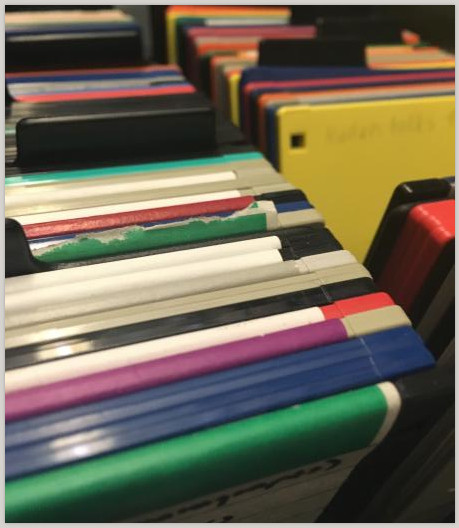Close-up photograph of colorful floppy disks