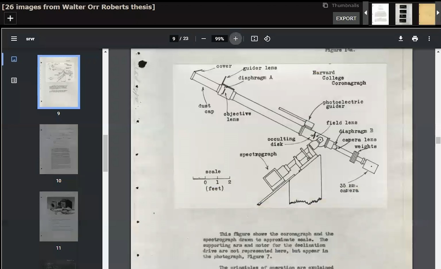 """Screenshot of CUDL Digital Library with title, """"26 Images from Walter Orr Roberts Thesis."""" Document viewer shows diagram of coronograph telescope with parts labeled and typed caption"""