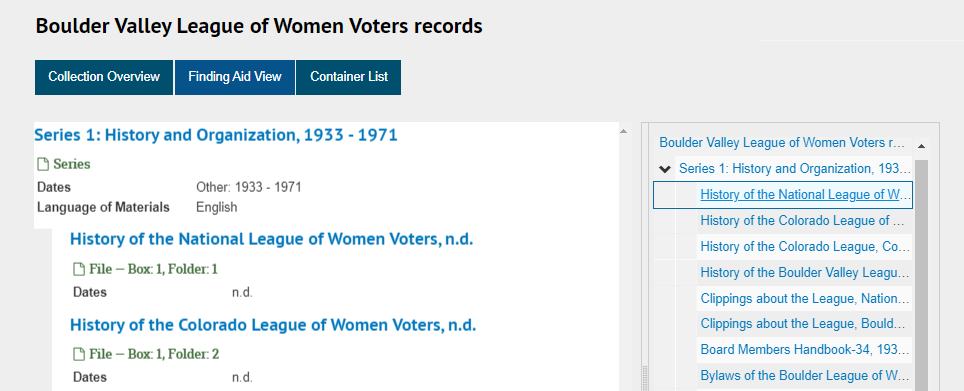 """Screenshot of """"Finding Aid View"""" outline on ArchivesSpace page for Boulder Valley League of Women Voters records"""