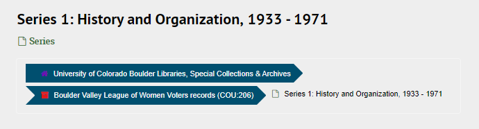 """Screenshot of ArchivesSpace page titled """"Series 1: History and Organization."""" Type field reads """"Series,"""" but Identifier/Location field is blank"""