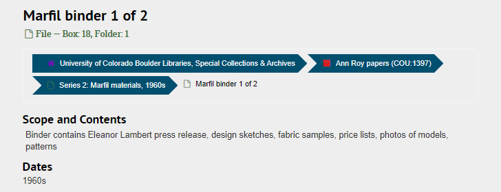 """Screenshot of ArchivesSpace page for the file """"Marfil binder 1 of 2,"""" with fields as described below"""